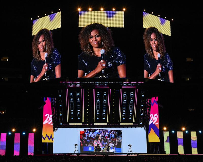 NEW ORLEANS, LOUISIANA - JULY 06: A conversation with Michelle Obama takes place during the 2019 ESSENCE Festival at the Mercedes-Benz Superdome on July 06, 2019 in New Orleans, Louisiana. (Photo by Erika Goldring/Getty Images)