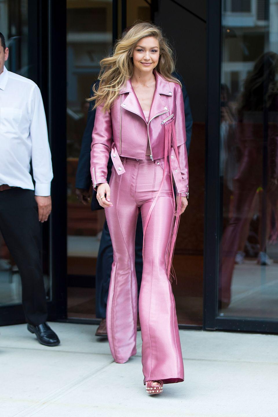<p>This Western-inspired look is cooler than I ever thought pink could be. Thank you, Gigi for blessing us with this outfit and teaching us that you <em>can </em>look like a total badass while wearing pink from head to toe. </p>