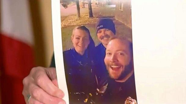 PHOTO: Aurora, Colo., police officers Erica Marrero, left, and Kyle Dittrich, right, were both fired for posing at the site of Elijah McClain's death. Jaron Jones, center, resigned earlier this week. (Aurora Police Department)