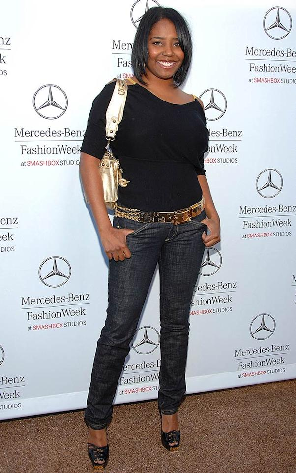 """First of all, who invited Shar Jackson? Secondly, do you think she could have bothered to wear something interesting? She looks cute, but a simple black top and jeans just doesn't cut it at Fashion Week. Jean-Paul Aussenard/<a href=""""http://www.wireimage.com"""" target=""""new"""">WireImage.com</a> - March 10, 2008"""