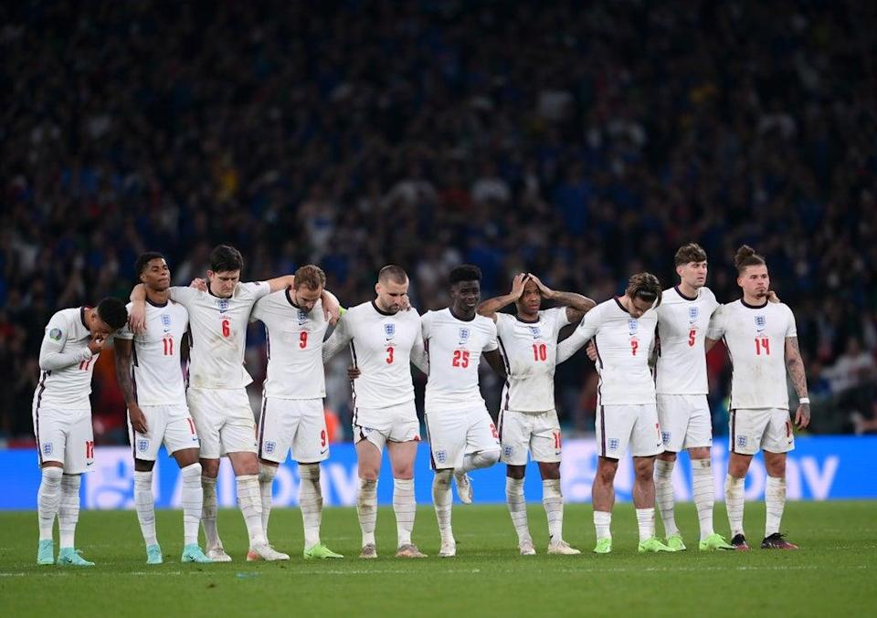 The England team look on during the agonising penalty shoot-out defeat to Italy at the Euros    (Getty Images)