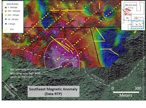 Coincident magnetic and soil gold anomalies in the southeastern block