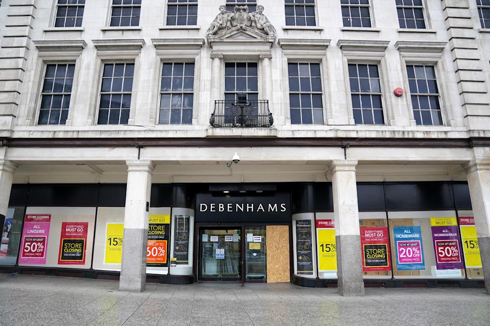 <p>Some Debenhams stores are open for a final closing down sale, while some did not reopen from lockdown</p> (PA Wire)