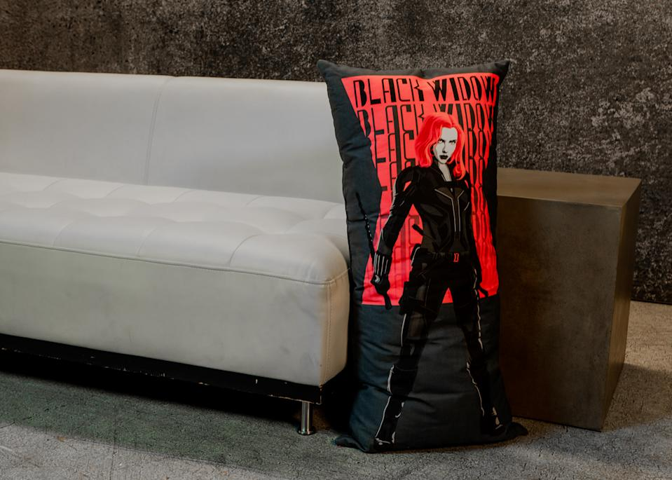 Add some comfort to your living room with a 'Black Widow' body pillow (Photo: Disney Dpecp)