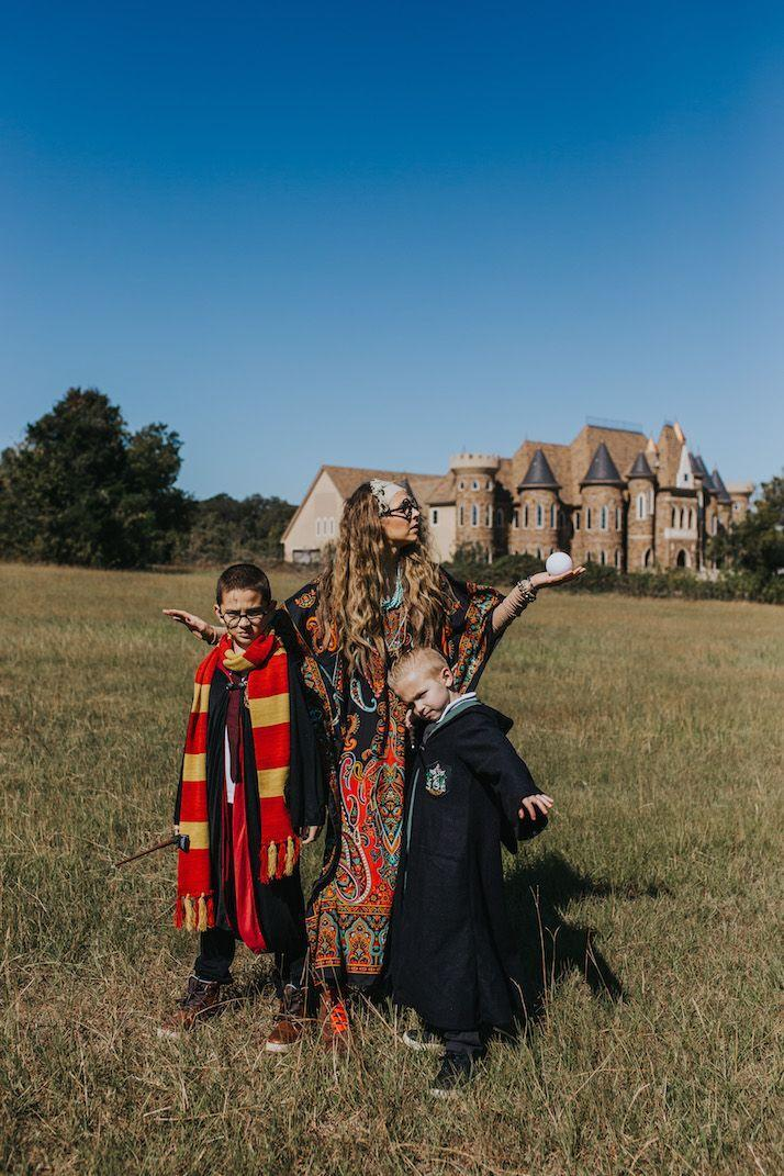 """<p>Professor Trelawney, Snape, and Harry himself are just three of the choices you'll have when it comes to dressing up as <em>Harry Potter</em> characters. Now's your chance to embody your favorite!</p><p><strong>Get the tutorial at <a href=""""https://www.merricksart.com/our-familys-diy-harry-potter-costume/"""" rel=""""nofollow noopener"""" target=""""_blank"""" data-ylk=""""slk:Merrick's Art"""" class=""""link rapid-noclick-resp"""">Merrick's Art</a>.</strong></p><p><strong><a class=""""link rapid-noclick-resp"""" href=""""https://go.redirectingat.com?id=74968X1596630&url=https%3A%2F%2Fwww.walmart.com%2Fsearch%2F%3Fquery%3Dstriped%2Bscarves&sref=https%3A%2F%2Fwww.thepioneerwoman.com%2Fhome-lifestyle%2Fcrafts-diy%2Fg37066817%2Fhalloween-costumes-for-3-people%2F"""" rel=""""nofollow noopener"""" target=""""_blank"""" data-ylk=""""slk:SHOP STRIPED SCARVES"""">SHOP STRIPED SCARVES</a><br></strong></p>"""