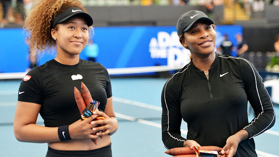 Naomi Osaka and Serena Williams, pictured here before their exhibition match in Adelaide.