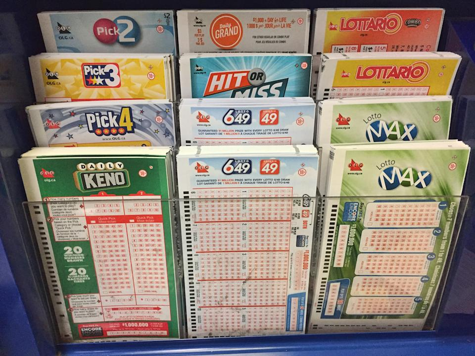 Lottery ticket selection slips at a small kiosk in Toronto, Ontario, Canada.  (Photo by Creative Touch Imaging Ltd./NurPhoto via Getty Images)