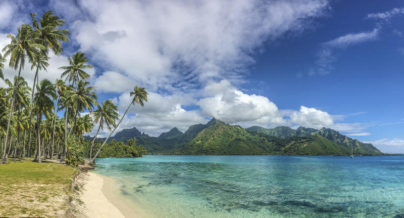 Public beach in the north of Moorea island, French Polynesia.