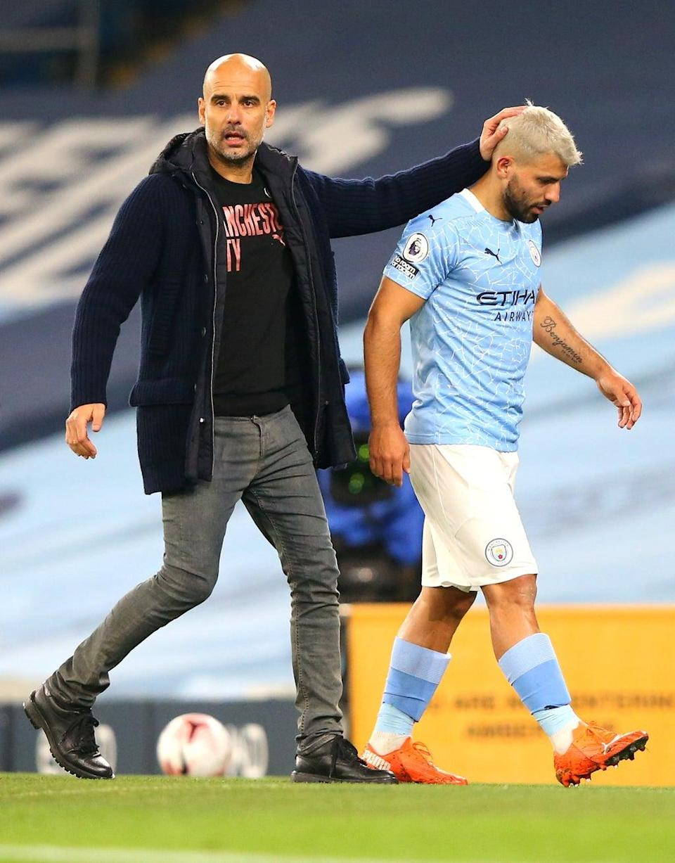 Pep Guardiola, left, acknowledged City are missing something after failing to replace Sergio Aguero this summer (Alex Livesey/PA) (PA Wire)