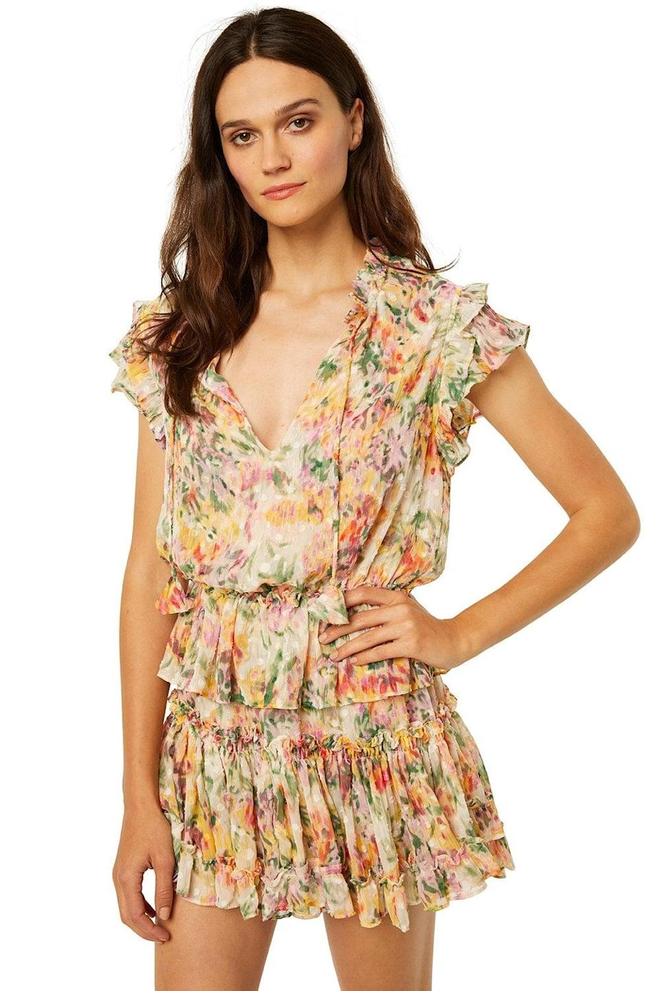 <p>Let me tell you, I just tried this <span>Misa Lilian Dress</span> ($350) on and it's officially the most flattering summer piece in my closet. If you think it's pretty online, wait until you see it in person - the shimmery threads are so pretty.</p>