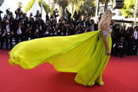 <p>Chiara Ferragni poses for photographers upon arrival at the premiere of the film 'Stillwater' at the 74th international film festival, Cannes, southern France, Thursday, July 8, 2021. (AP Photo/Brynn Anderson)</p>