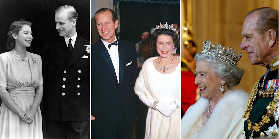 """<p>On April 9, 2021, <a href=""""https://www.goodhousekeeping.com/life/a19636201/prince-philip-duke-of-edinburgh-dies/"""" rel=""""nofollow noopener"""" target=""""_blank"""" data-ylk=""""slk:Prince Philip, Duke of Edinburgh"""" class=""""link rapid-noclick-resp"""">Prince Philip, Duke of Edinburgh</a> and husband to <a href=""""https://www.goodhousekeeping.com/life/entertainment/a34330/facts-about-queen-elizabeth-ii/"""" rel=""""nofollow noopener"""" target=""""_blank"""" data-ylk=""""slk:Queen Elizabeth II"""" class=""""link rapid-noclick-resp"""">Queen Elizabeth II</a>, died at age 99, ending one of the great love stories of our time. The Queen's companion for more than seven decades, Prince Philip was the longest-serving royal consort in British history. Through 73 years of marriage, the Queen considered her husband a """"<a href=""""https://www.townandcountrymag.com/society/tradition/a25845986/queen-elizabeth-prince-philip-quotes/"""" rel=""""nofollow noopener"""" target=""""_blank"""" data-ylk=""""slk:constant strength and guide"""" class=""""link rapid-noclick-resp"""">constant strength and guide</a>."""" Here, a look back at their marriage in photos.<br></p>"""
