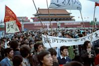 Protesters rally in Tiananmen Square in May 1989 in a pro-democracy uprising that was violently put down