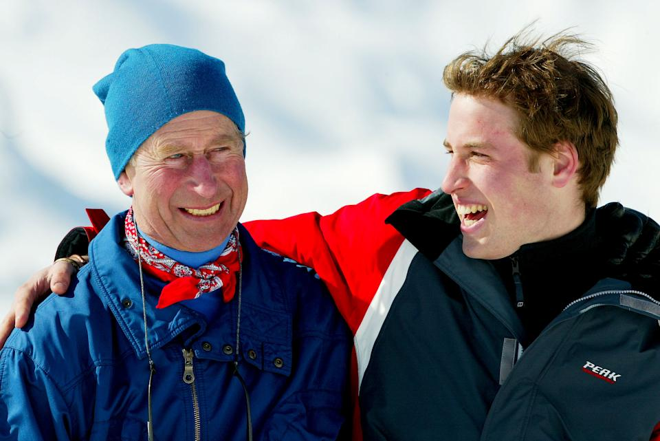 <p>Prince Charles and Prince William in the Swiss village of Klosters at the start of their annual skiing holiday in the Swiss Alps in 2004. (Pascal Le Segretain/Getty Images)</p>