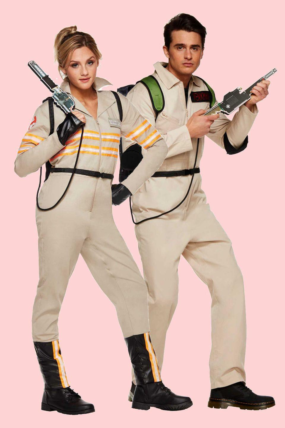"""<p>We apologize if the theme song is now permanently stuck in your head, but it's honestly one of the best parts of dressing up as these spirit-catching scientists.</p><p><a class=""""link rapid-noclick-resp"""" href=""""https://www.amazon.com/Rubies-Costume-Womens-Ghostbusters-Deluxe/dp/B01CQCBEA4/ref=sr_1_1?tag=syn-yahoo-20&ascsubtag=%5Bartid%7C10055.g.2625%5Bsrc%7Cyahoo-us"""" rel=""""nofollow noopener"""" target=""""_blank"""" data-ylk=""""slk:SHOP FEMALE GHOSTBUSTER COSTUME"""">SHOP FEMALE GHOSTBUSTER COSTUME</a></p><p> <a class=""""link rapid-noclick-resp"""" href=""""https://www.amazon.com/Ghostbusters-Deluxe-Jumpsuit-Beige-Costume/dp/B0039SX4NU/?tag=syn-yahoo-20&ascsubtag=%5Bartid%7C10055.g.2625%5Bsrc%7Cyahoo-us"""" rel=""""nofollow noopener"""" target=""""_blank"""" data-ylk=""""slk:SHOP MALE GHOSTBUSTER COSTUME"""">SHOP MALE GHOSTBUSTER COSTUME</a></p>"""