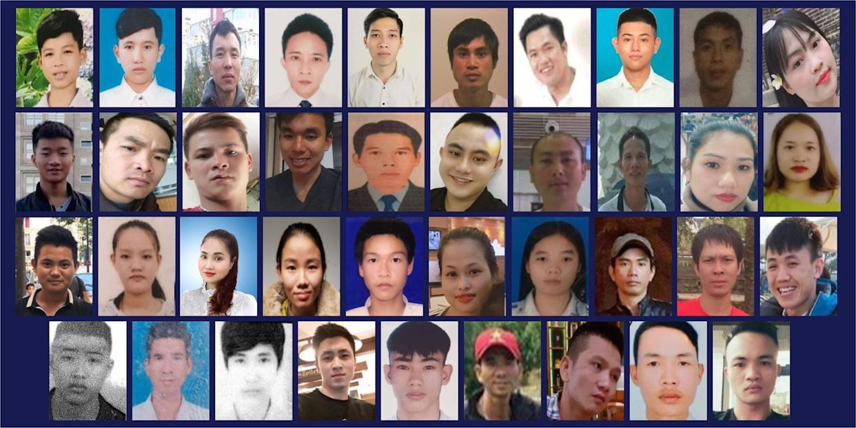 A handout combination photo released by Essex Police in London on January 22, 2021, shows the 39 Vietnamese victims of a people smuggling plot, all found dead in the back of a lorry in 2019. Top row LtoR: Dinh Dinh Binh, Nguyen Minh Quang, Nguyen Huy Phong, Le Van Ha, Nguyen Van Hiep, Bui Phan Thang, Nguyen Van Hung, Nguyen Huy Hung, Nguyen Tien Dung, Pham Thi Tra My. Second Row LtoR: Tran Khanh Tho, Nguyen Van Nhan, Vo Ngoc Nam, Vo Van Linh, Nguyen Ba Vu Hung, Vo Nhan Du, Tran Hai Loc, Tran Manh Hung, Nguyen Thi Van, Bui Thi Nhung. Third row LtoR: Hoang Van Tiep, Tran Thi Ngoc, Phan Thi Thanh, Tran Thi Tho, Duong Minh Tuan, Pham Thi Ngoc Oanh, Tran Thi Mai Nhung, Le Trong Thanh, Nguyen Ngoc Ha, Hoang Van Hoi. Bottom row LtoR: Tran Ngoc Hieu, Cao Tien Dung, Dinh Dinh Thai Quyen, Dang Huu Tuyen, Nguyen Dinh Luong, Cao Huy Thanh, Nguyen Trong Thai, Nguyen Tho Tuan and Nguyen Dinh Tu. - A British judge on Friday handed down sentences of 27 and 20 years to ringleaders Ronan Hughes and Gheorge Nica, who led a people smuggling plot that led to the death of 39 Vietnamese migrants in horrific conditions in the back of a lorry. The 39 -- the youngest of whom were two 15-year-old boys -- suffocated in the container as they were being transported to what they had hoped would be new lives in Britain.  The lifeless bodies of the migrants were discovered inside the sealed unit at a port near London in October, 2019. (Photo by - / Essex Police / AFP) (Photo by -/Essex Police/AFP via Getty Images)