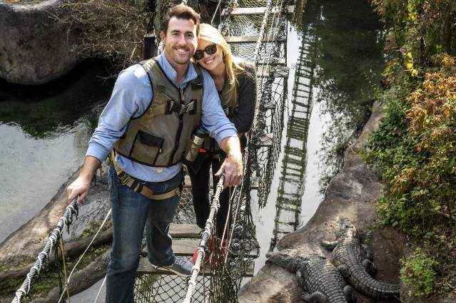 <p>Kate Upton and Justin Verlander are all smiles Feb. 3, 2015 during a safari adventure on Wild Africa Trek at Disney's Animal Kingdom theme park in Lake Buena Vista, Fla. The couple visited Walt Disney World Resort on vacation before Verlander reports for spring training later this month. (Chloe Rice, photographer) </p>