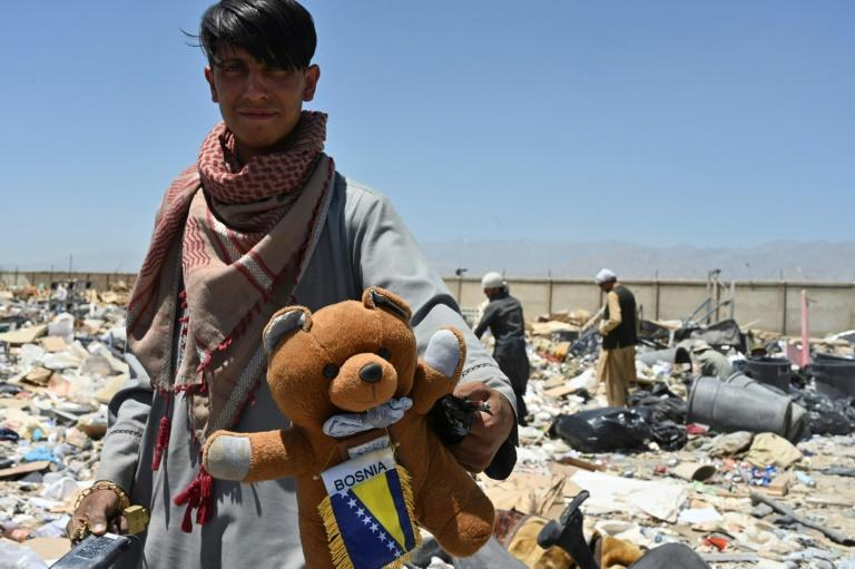 Scrap dealers say nothing goes to waste from Bagram's discarded equipment, including furniture, gym equipment, and even teddy bears