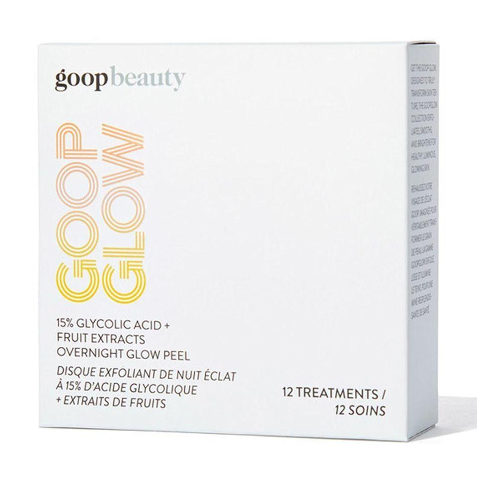 """<p><strong>Goop Beauty</strong></p><p>sephora.com</p><p><strong>$125.00</strong></p><p><a href=""""https://go.redirectingat.com?id=74968X1596630&url=https%3A%2F%2Fwww.sephora.com%2Fproduct%2Fgoop-goopglow-15-glycolic-acid-overnight-glow-peel-P456208&sref=https%3A%2F%2Fwww.bestproducts.com%2Fbeauty%2Fg22530244%2Fbenefits-of-glycolic-acid-skincare-products%2F"""" rel=""""nofollow noopener"""" target=""""_blank"""" data-ylk=""""slk:Shop Now"""" class=""""link rapid-noclick-resp"""">Shop Now</a></p><p>Goop Beauty's glycolic acid peel pads give you a pro-level treatment — no aesthetician appointment necessary!</p><p>Designed to be used once a week on your face, neck, and chest, these pads deliver a powerful dose of glycolic acid and fruit extracts that exfoliate and brighten skin overnight. Plus, while it might seem like a splurge, this box contains a 3-month supply.<br></p>"""