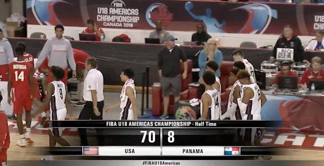 Team USA's U18 basketball team — led by Kansas coach Bill Self — dominated Panama on Monday night in the FIBA U18 Americas Championship, and jumped to an insane 45-0 lead to start the game. (Twitter/Yahoo Sports)