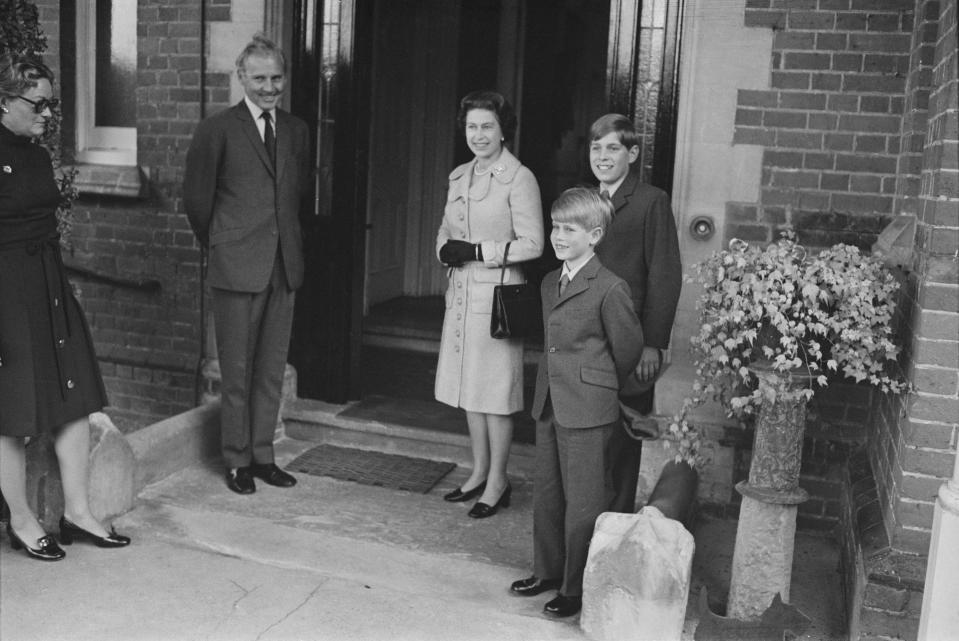 Prince Edward starts his first day at Heatherdown Preparatory School near Ascot, England, in 1972, accompanied by the Queen and older brother Prince Andrew. [Photo: Getty]