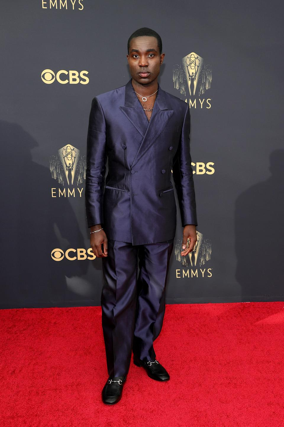 The <em>I May Destroy You</em> star looked extremely chic in his metallic dark blue suit.