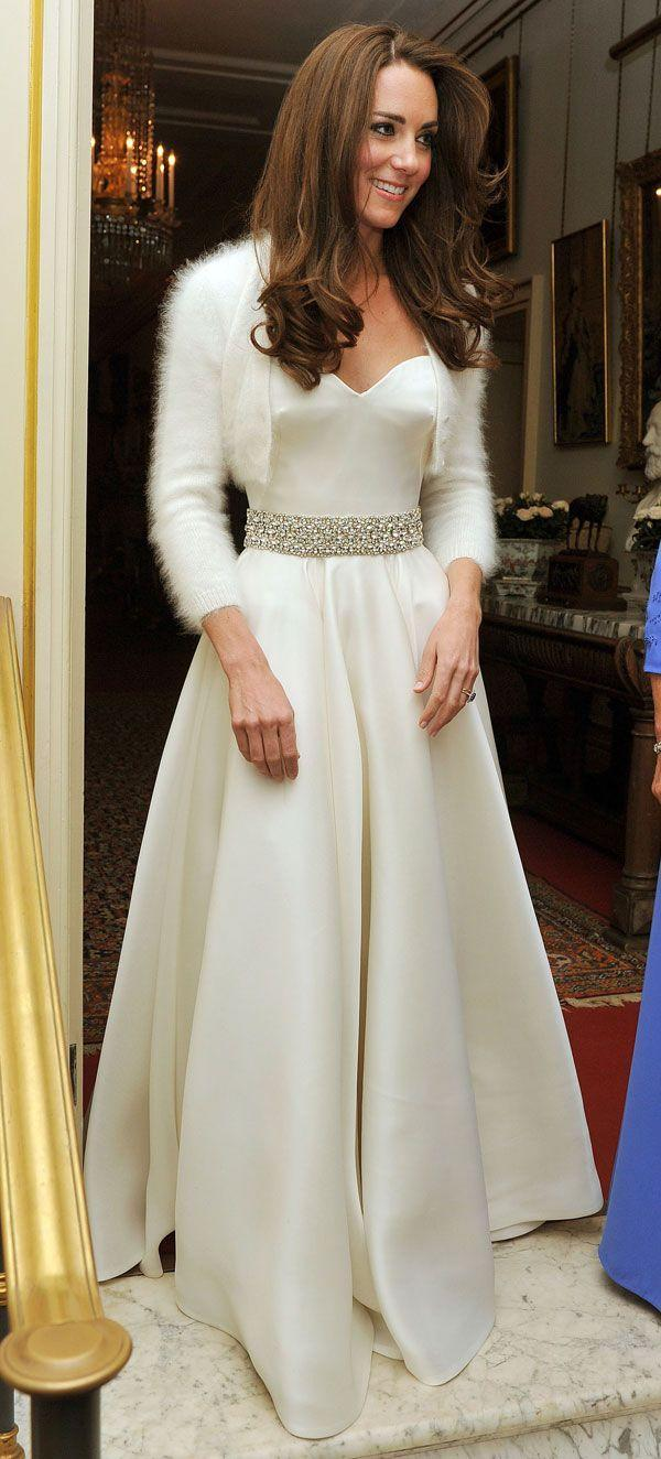 """<p>A more subdued """"party version"""" of the church gown, The Duchess of Cambridge was McQueen all day at her wedding.</p>"""