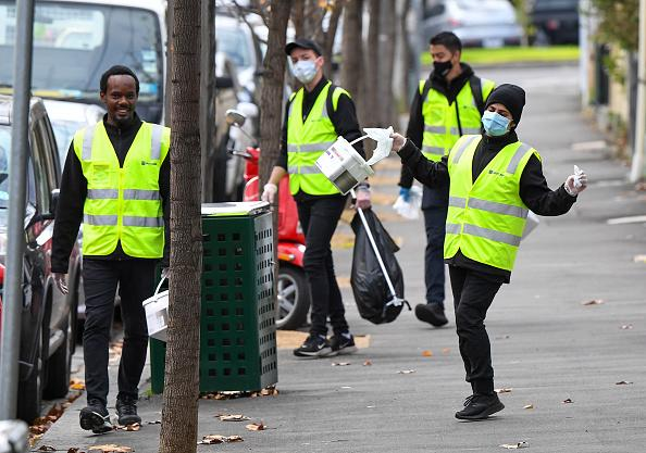 Cleaners wipe down amenities in Melbourne as the city re-enters a city wide lockdown after a fresh outbreak of the COVID-19 coronavirus.
