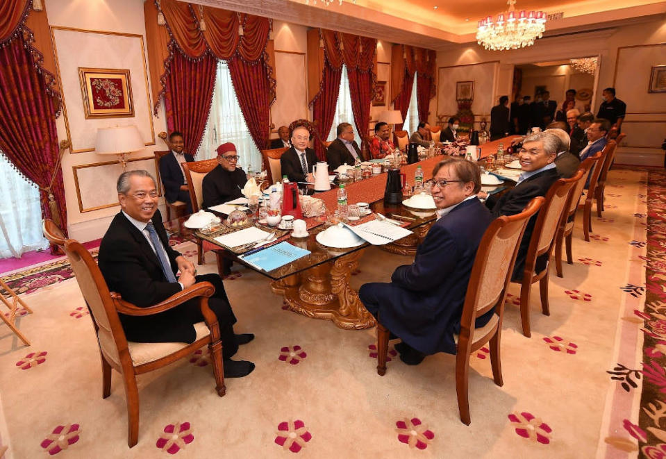 Tan Sri Muhyiddin Yassin held a two-hour meeting in Putrajaya with the heads of 12 political parties. — Picture from Facebook/Muhyiddin Yassin