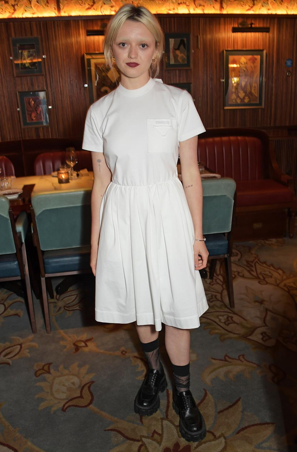 LONDON, ENGLAND - AUGUST 02:  Maisie Williams attends a private dinner which she hosted at Gymkhana London to celebrate the launch of new company film production company 'Rapt' on August 2, 2021 in London, England.  (Photo by David M. Benett/Dave Benett/Getty Images)