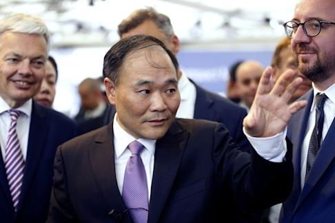 Li Shufu, founder and chairman of Geely Automotive Holdings, the largest shareholder of Daimler AG, during a meeting in Brussels on February 23, 2018. Photo: AFP
