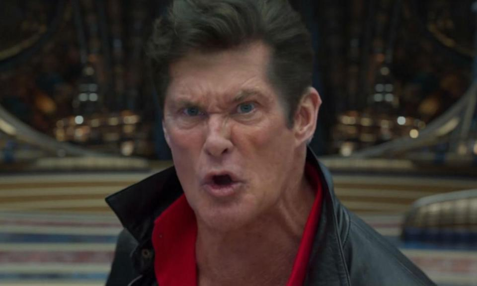 <p>The running joke in<em> Guardians of the Galaxy</em> is that Peter Quill tells people his father is David Hasselhoff so, in <em>Vol. 2</em>, Ego transforms into the Baywatch star while mocking his son. </p>