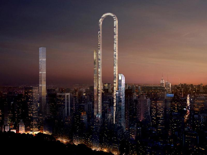 Playing the long game: the Big Bend would create a steel archway towering over Manhattan's Billionaires' Row: Oiio