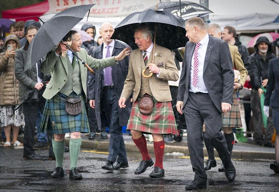 The Prince of Wales during a visit to Inverurie Farmers Market (Jane Barlow/PA) (PA Wire)