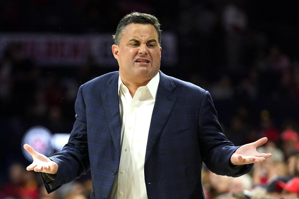 Arizona coach Sean Miller reacts to a foul call in the first half during an NCAA college basketball game against Southern California on Thursday, Feb. 6, 2020, in Tucson, Ariz. (AP Photo/Rick Scuteri)