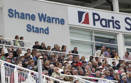 Spectators watch the first one-day international match between England and West Indies from the Shane Warne Stand