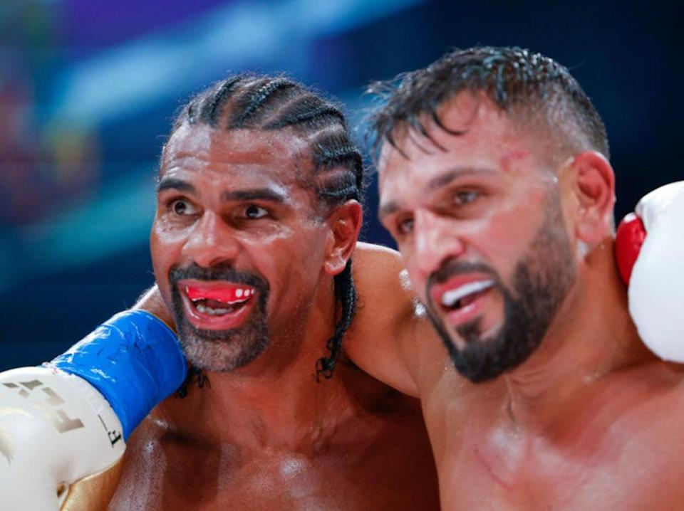 Haye and Joe Fournier embrace after their fight (Getty Images)