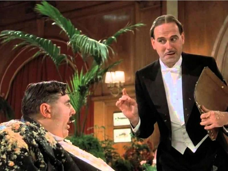 Terry Jones and John Cleese in the Mr Creosote sketch – a scene that Quentin Tarantino found too graphic