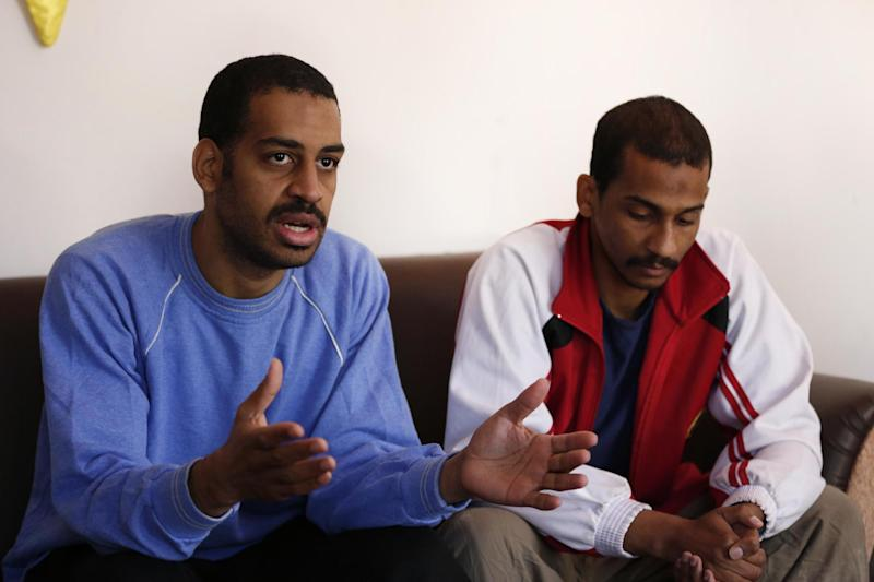 Alexanda Amon Kotey, left, and El Shafee Elsheikh speak from cell in Syria (AP)