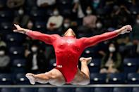 An international gymnastics competition in Tokyo in November took place in front of socially distanced crowds