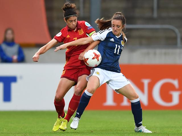 Scotland's Lisa Evans during the Euro 2017 match between Scotland and Spain.
