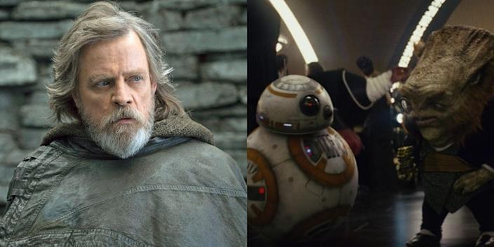 "Mark Hamill voices the alien seen interacting with BB-8 in ""The Last Jedi."""