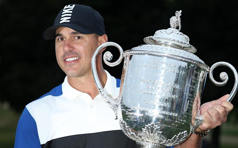 Brooks Koepka fought off a late challenge from Dustin Johnson and a wobble to become the wire-to-wire winner of the US PGA Championship - Getty Images North America