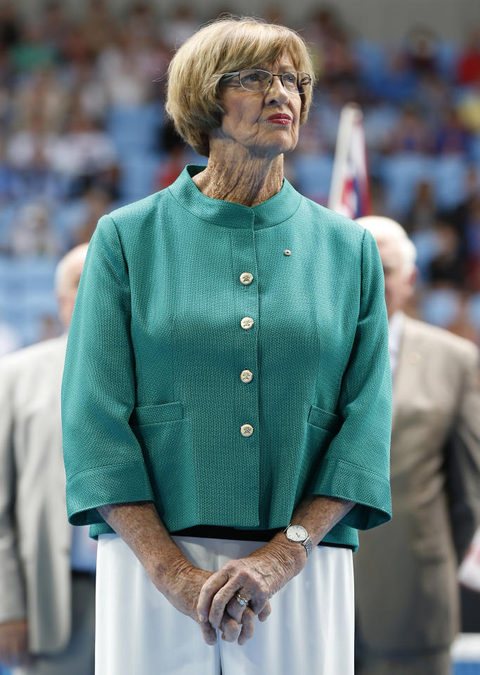 FILE - In this Jan. 26, 2015, file photo, Australian tennis great Margaret Court looks on during the official launch of the remodeled Margaret Court Arena at the Australian Open tennis championship in Melbourne, Australia. The New York Times reported on June 5, 2017, that Court defended her opposition to gay marriage while speaking to the congregation at a Pentecostal church where she serves as pastor near Perth, Australia, Sunday. (AP Photo/Vincent Thian, File)