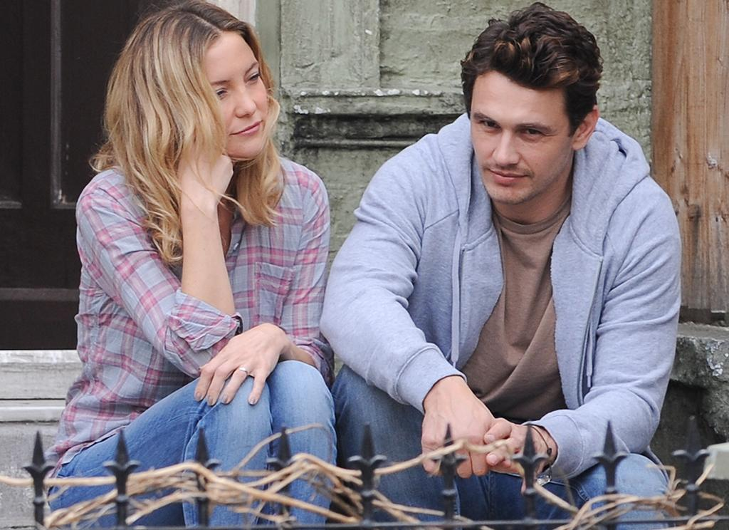 Kate Hudson and James Franco on the film set of 'Good People' in London. Kate Hudson looked tired and seemed to fall asleep.