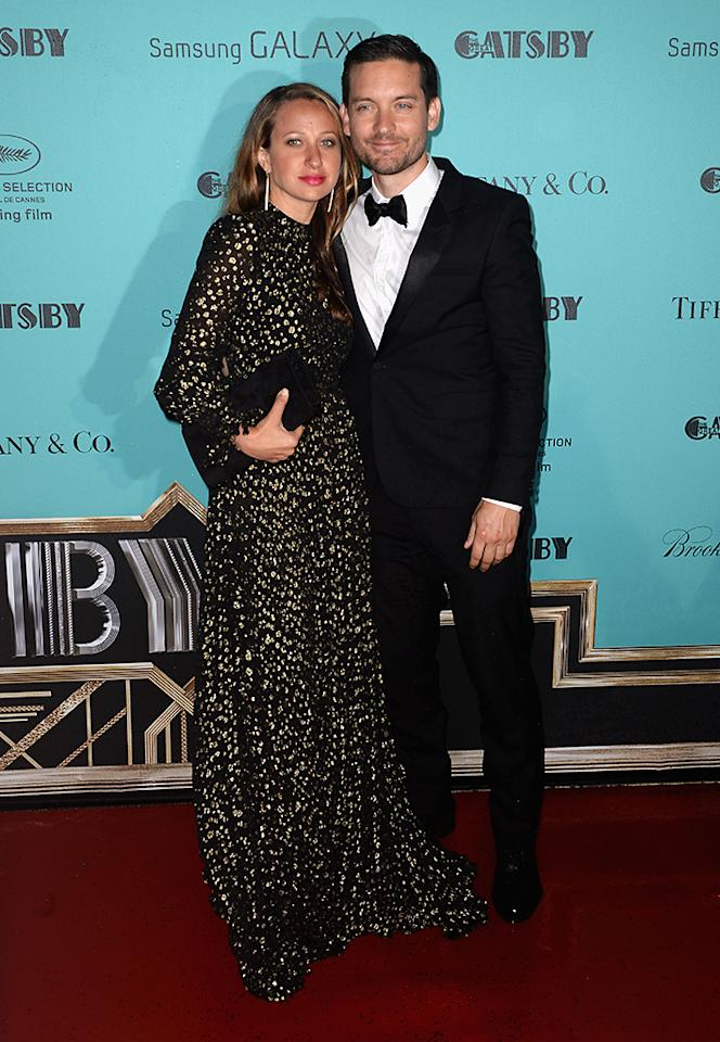 CANNES, FRANCE - MAY 15:  (L-R) Jennifer Meyer and Tobey McGuire attend 'The Great Gatsby' Party during the 66th Annual Cannes Film Festival at the Quai Lauboeuf on May 15, 2013 in Cannes, France.  (Photo by Samir Hussein/Getty Images)