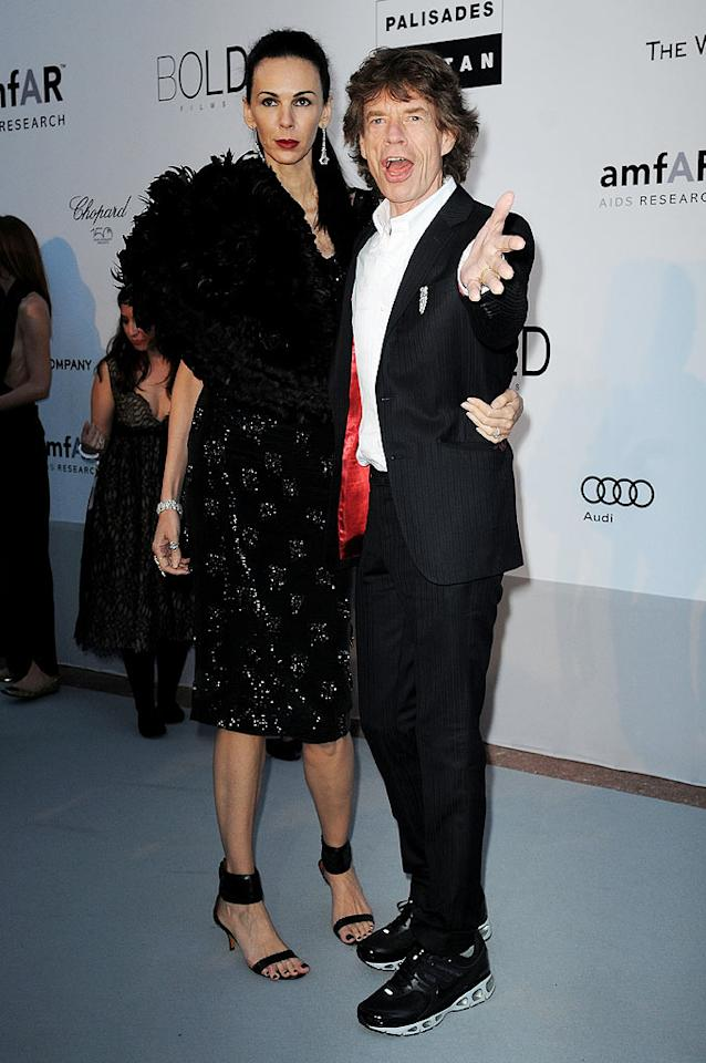 """Designer L'Wren Scott and her rocker boyfriend Mick Jagger, who wore trainers to the fancy fete, worked the red carpet. The Rolling Stones frontman was in town to debut the band's documentary, """"Stones in Exile."""" Dominique Charriau/<a href=""""http://www.wireimage.com"""" target=""""new"""">WireImage.com</a> - May 20, 2010"""