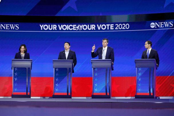 PHOTO: Democratic presidential candidates Kamala Harris, Andrew Yang, Beto O'Rourke and Julian Castro take part in the a debate at Texas Southern University, Sept. 12, 2019, in Houston, Texas. (Heidi Gutman/Walt Disney Television)
