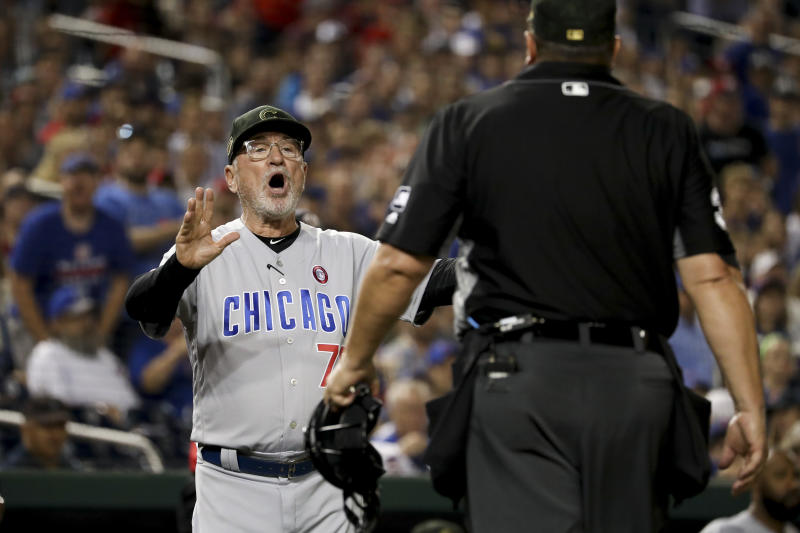 Chicago Cubs manager Joe Maddon argues with umpire Sam Holbrook over the delivery of Washington Nationals relief pitcher Sean Doolittle during the ninth inning of a baseball game Saturday, May 18, 2019, in Washington. Maddon thought Doolittle was using an illegal delivery. Maddon believed the left-handed Doolittle was tapping his right toe on the ground before coming to the plate. The Nationals won 5-2. (AP Photo/Andrew Harnik)