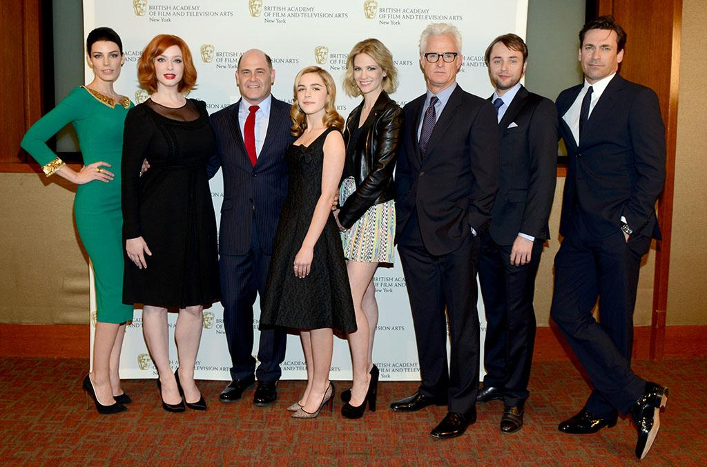 "Christina Hendricks, Matthew Weiner, Vincent Slattery, Kiernan Shipka, Vincent Kartheiser, January Jones and Jon Hamm attend BAFTA New York Celebrates ""Mad Men"" at The Harvard Club on April 22, 2013 in New York City."